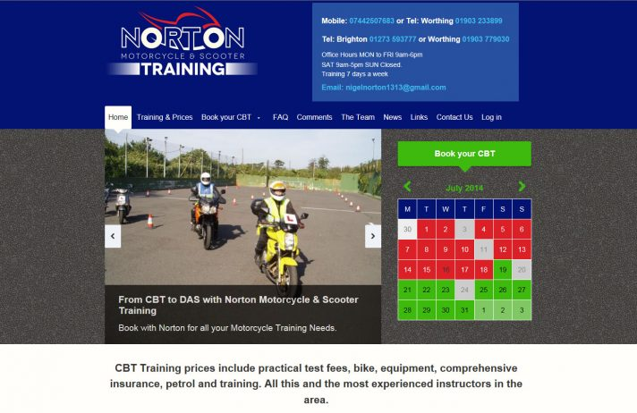 New website theme for Norton Motorcycle Training