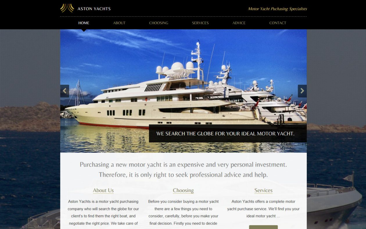 Website redesign for Aston Yachts