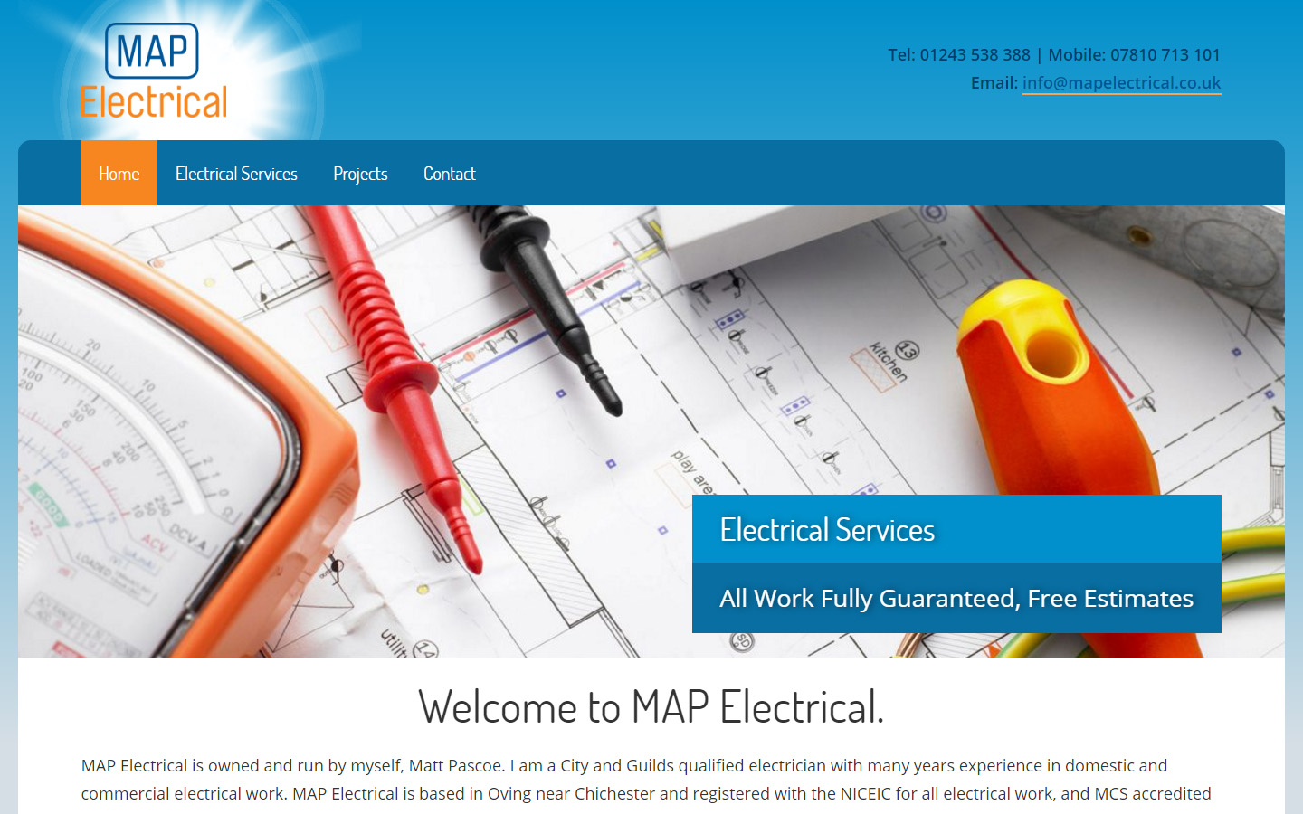New Website design for Chichester Electrician – GDS Web Design
